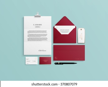Corporate identity template set. Business stationery mock-up with logo sample. Vector illustration.