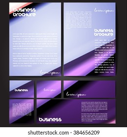 Corporate identity template set. Business stationery mock-up with colorful fading stripes. Branding design. Letter envelope, card, catalog, paper, notebook, presentation, letterhead. Vector