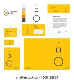 Corporate identity template set with circle square and triangle company logo.  Vector, modern company style for brandbook and guideline. Card, pen, badge, letterhead, notebook. eps 10