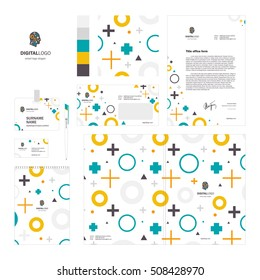 Corporate identity template set with digital logo and circle plus and triangle pattern.  Vector, modern company style for brandbook and guideline. Card, pen, badge, letterhead, notebook. eps 10