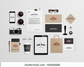 Corporate identity template set with logo sample. Business stationery mock-up for bakery or cafe. Set of paper bag, menu, cards, phone, camera, tablet, stamp, note, cup etc. Vector illustration.