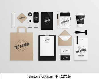 Corporate identity template set with logo sample. Business stationery mock-up for bakery or cafe. Set of paper bag, menu, cards, phone, tablet, stamp, note, cup etc. Vector illustration.