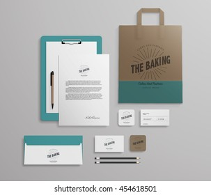 Corporate identity template set with logo sample. Business stationery mock-up for bakery or cafe. Set of paper bag, menu, cards etc. Vector illustration.