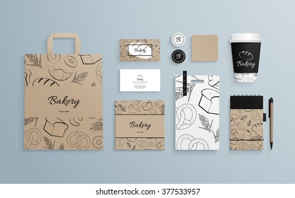 Corporate identity template set with pattern of baked goods. Business stationery mock-up with logo sample. Set of paper bag, cup, cards etc. Vector illustration.