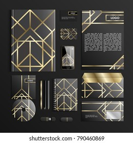 Corporate identity template in trendy colors with geometric patterns. Vector company style for brandbook and guideline. Art deco style. Creative Business stationery. Vector Illustration. EPS 10