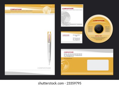Corporate Identity Template Vector - blank, card, pen, cd, notepaper, envelope