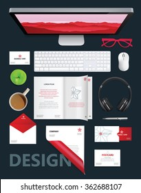 Corporate identity template. Vector company style for brand book and guideline. Folder, envelope, business card, glasses, postcard, journal and blank sheet.