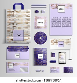 Corporate identity template in violet and purple colors with pattern of gold sound waves. Vector company style for brandbook and guideline. EPS 10
