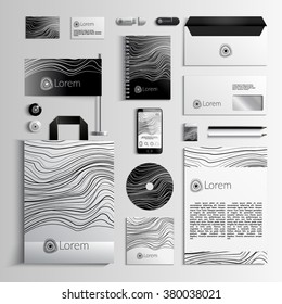 Corporate identity template in white and black colors with a linear pattern. Vector company style for brandbook and guideline. EPS 10