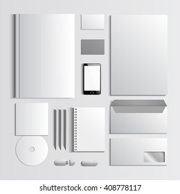 Corporate identity template. White mock-up. Vector company style for brand book and guideline. EPS 10