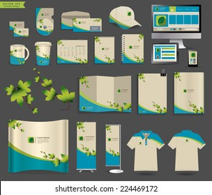 Corporate identity templates, Blank name card, envelope, mugs, mobile phone, tablet, calendar, notebook paper, folded paper, open book, exhibition banners stands, polo t-shirt, Vector illustration