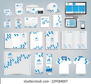 Corporate identity templates, With blank name card, envelope, mugs, mobile phone, tablet, calendar, notebook paper, folded paper, open book, exhibition banners stands, polo shirt, Vector illustration