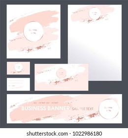 Corporate identity templates for company. Invitation to a company event. Cover product catalog. Business card. Banner. Letterhead A4. Brush strokes in gentle pastel colors on a white background.