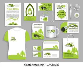 Corporate identity templates for ecology and think green environment company. Branded accessories or branding office stationery. Vector set of business card, mug or t-shirt, envelope and paper bag