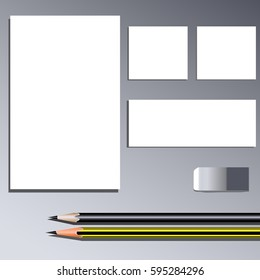 Corporate Identity Templates with Letterhead, Blank Pieces of Paper, Pencils and Eraser. Vector Illustration