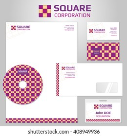 Corporate identity templates with square abstract logo. Business company branding, brochure flyer and letterhead. Vector illustration