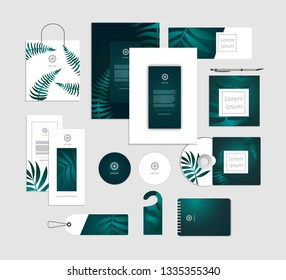 Corporate identity. Tropical leaves luxury concept