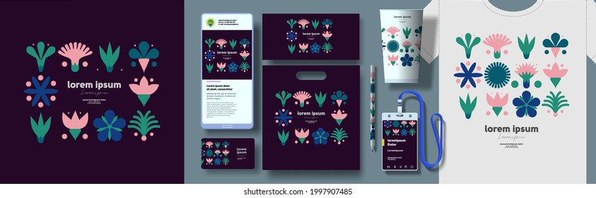 Corporate identity. Vector. Abstract patterns and branding. Elements for business. Example of using geometric illustrations in design.