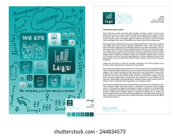 Corporate identity vector template design illustration, people characters, business. Cyan and blue