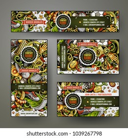 Corporate Identity vector templates set design with doodles hand drawn Football theme. Colorful banner, id cards, flayer design. Templates set