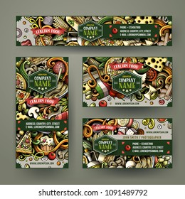 Corporate Identity vector templates set design with doodles hand drawn Italian food theme. Colorful banner, id cards, flayer design. Templates set