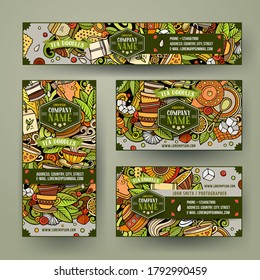 Corporate Identity vector templates set design with doodles hand drawn Tea time theme. Colorful banner, id cards, flayer design. Templates set