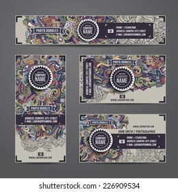 Corporate Identity vector templates set with doodles photo theme