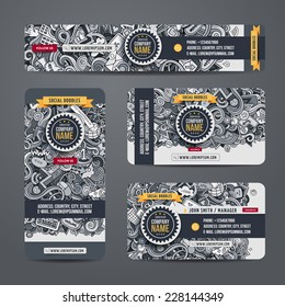 Corporate Identity vector templates set with doodles social internet theme