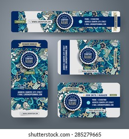 Corporate Identity vector templates set with doodles marine theme