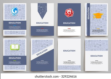 Corporate identity vector templates set with doodles education theme. Target marketing concept