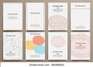 Corporate identity vector templates set with doodles veterinary theme