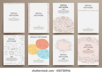 Corporate identity vector templates set with doodles social network theme