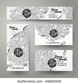 Corporate Identity vector templates set design with doodles hand drawn ice cream theme. Line art banner, id cards, flayer design. Templates set