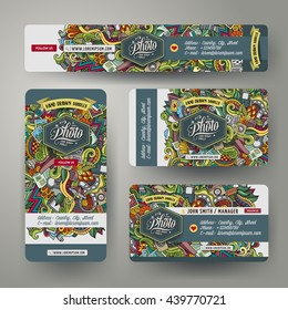 Corporate Identity vector templates set design with doodles hand drawn photo theme. Colorful banner, id cards, flayer design. Templates set