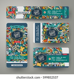 Corporate Identity vector templates set design with doodles hand drawn Sport theme. Colorful banner, id cards, flayer design. Templates set