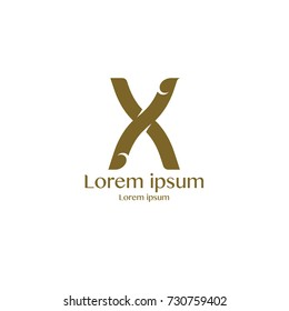 Corporate Identity X Branding Thai art style vector logo design template