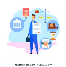 Corporate Lawyer, Advisor Flat Vector Character. Advocate, Consultant Holding Signed Business Agreement, Contract. Law and Justice Symbols. Successful Negotiations Cartoon Illustration