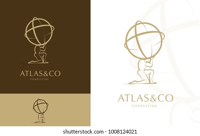 Corporate Logo / Icon Of God Atlas holding Globe