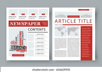 Corporate magazine template front page for publishing a company newsletter, marketing materials cover. Vector reportage information illustration isolated on grey background