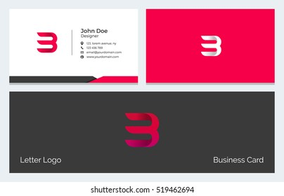 Corporate Minimal Business Visiting Card with Alphabet letter B