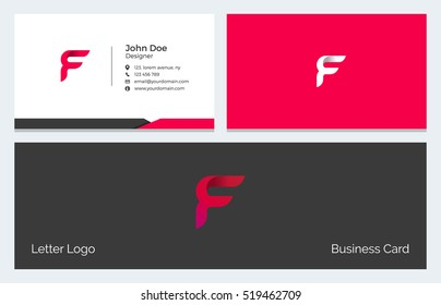 Corporate Minimal Business Visiting Card with Alphabet letter F