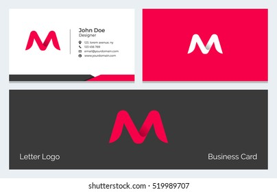 Corporate Minimal Business Visiting Card with Alphabet letter M