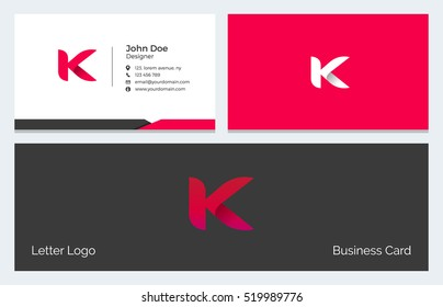 Corporate Minimal Business Visiting Card with Alphabet letter K
