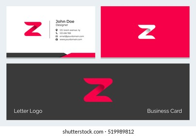 Corporate Minimal Business Visiting Card with Alphabet letter Z