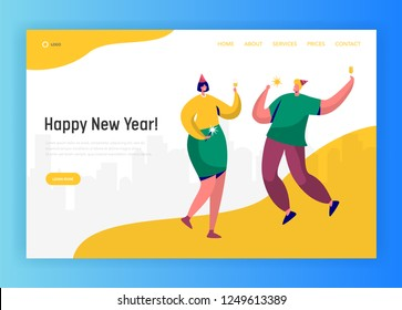 Corporate New Year party landing page template. Happy people characters celebrating in hats and having toast for website or web page. Easy edit. Vector illustration