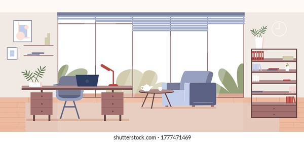 Corporate office flat color vector illustration. Business company CEO workplace 2D cartoon interior design with furniture on background. Professional freelancer workspace, modern apartment decor