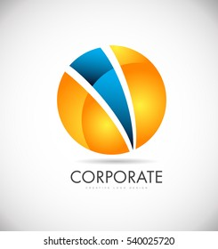Corporate orange blue sphere vector logo icon sign design template