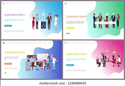 Corporate party, businessman and businesswoman having fun vector. Dancing and drinking people, workers relaxing at holiday celebration, team building