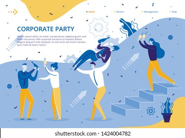 Corporate Party for Company Business Employees. Group People Celebrate Signing Lucrative Contract. Employees Company Celebrate Holiday in Office. Guy Holds Girl with Bottle Champagne in his Hand.