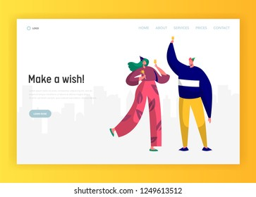Corporate party landing page template. Happy people characters celebrating in hats and having toast for website or web page. Easy edit. Vector illustration